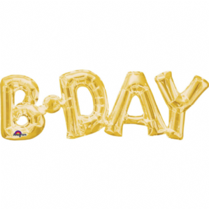 """B-Day"" Phrase Gold Supershape"