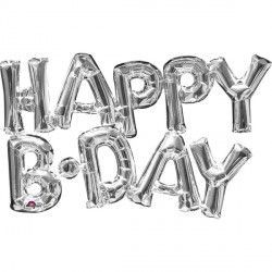 """Happy B-Day"" Phrase Silver Supershape"