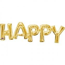 """Happy"" Phrase Gold Supershap"