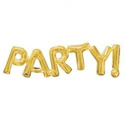 """Party!"" Phrase Gold Supershape"