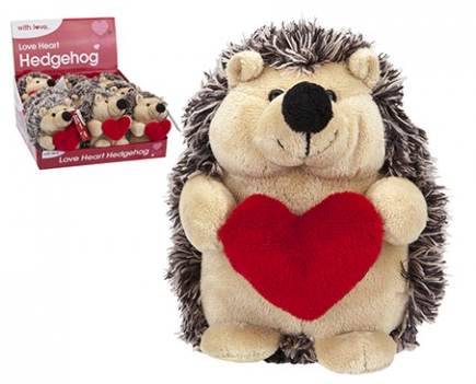15CM 2-TONE HEDGEHOG WITH  LOVEHEART