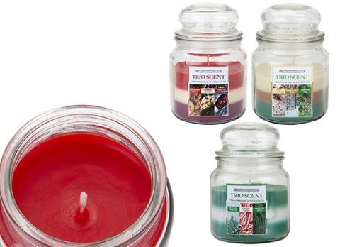 15OZ BELL JAR CHRISTMAS CANDLE  TRIO SCENT