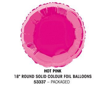 "18"" HOT PINK ROUND PACKAGED"
