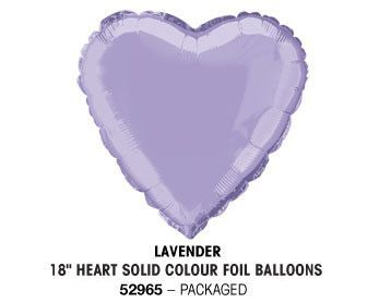 "18"" LAVENDER HEART PACKAGED"
