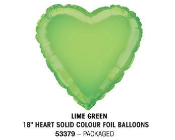 "18"" LIME GREEN HEART PACKAGED"