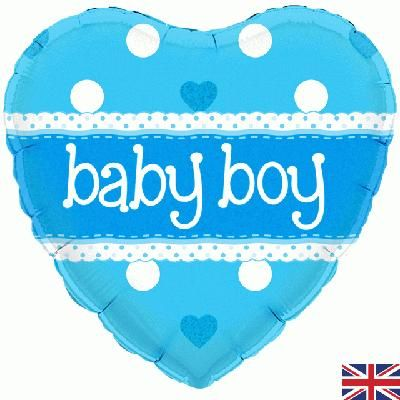 "18"" Oaktree Baby Boy Heart Holographic"