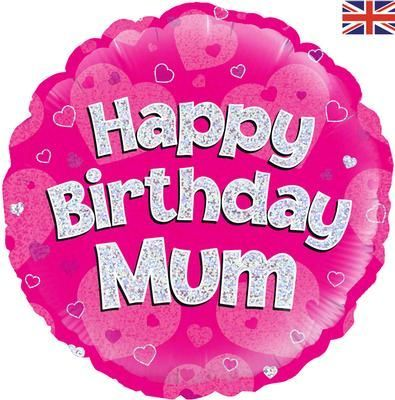 "18"" Oaktree Happy Birthday Mum Pink Holographic"
