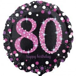 "18"" Pink Sparkling Celebration 80th"