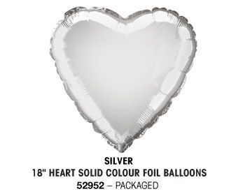 "18"" SILVER HEART PACKAGED"