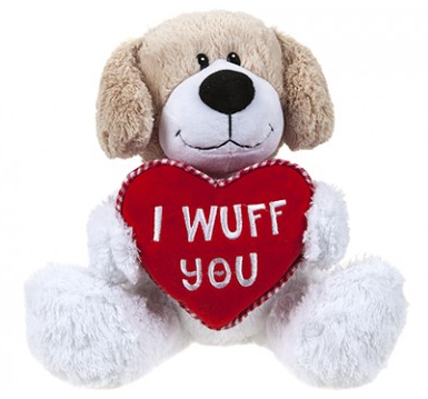 25CM I WUFF YOU PUPPY WITH  LOVEHEART
