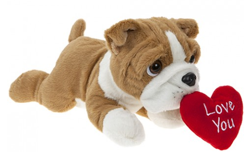 30CM LAYING BEANIE BULLDOG  WITH LOVEHEART
