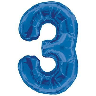"34"" NUMERAL  FOIL BALLOON #3 BLUE"