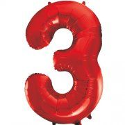 "34"" NUMERAL FOIL BALLOON #3 RED"