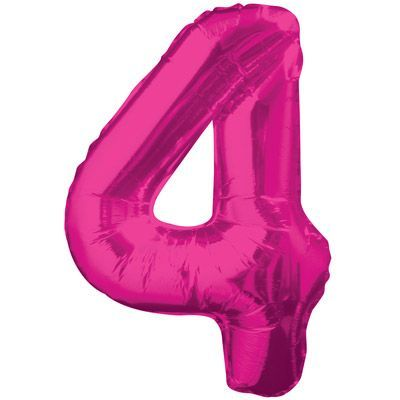 "34"" NUMERAL  FOIL BALLOON  #4 PINK"