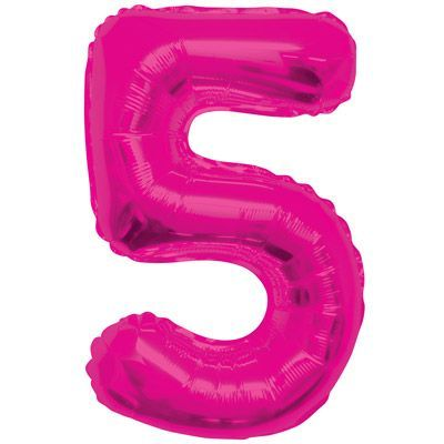 "34"" NUMERAL  FOIL BALLOON  #5 PINK"