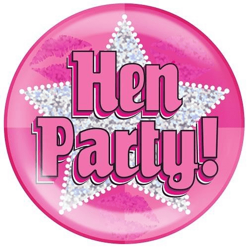 "6"" Jumbo Badge Hen Party Holographic Dot"