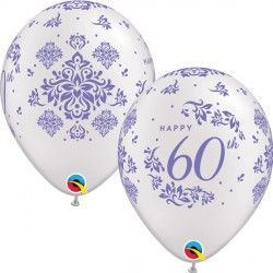 "60TH ANNIVERSARY DAMASK 11"" PEARL WHITE (25CT)"