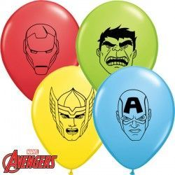 "AVENGERS ASSEMBLE FACES 5"" RED, YELLOW, PALE BLUE & LIME GREEN (100CT)"