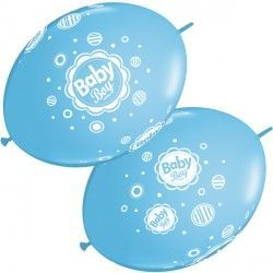 "BABY BOY DOTS QUICK LINK 12"" PALE BLUE (50CT)"