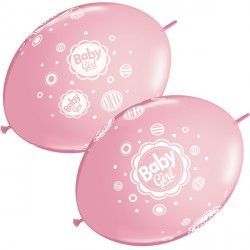 "BABY GIRL DOTS QUICK LINK 12"" PINK (50CT)"