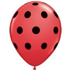 "BIG POLKA DOTS 11"" RED WITH BLACK INK (25CT)"