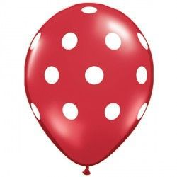 "BIG POLKA DOTS 11"" RED WITH WHITE INK (25CT)"