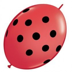 "BIG POLKA DOTS QUICK LINK 6"" RED WITH BLACK INK (50CT)"