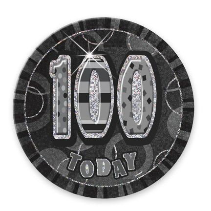"BLACK/SILVER ""100"" TODAY PRISM AGE BIRTHDAY BADGES"