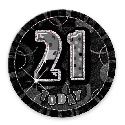 "BLACK/SILVER ""21"" TODAY PRISM AGE BIRTHDAY BADGES"
