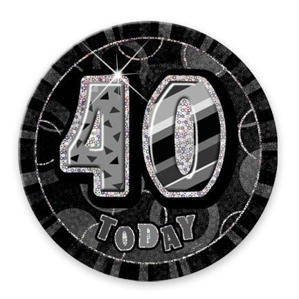 "BLACK/SILVER ""40"" TODAY PRISM AGE BIRTHDAY BADGES"