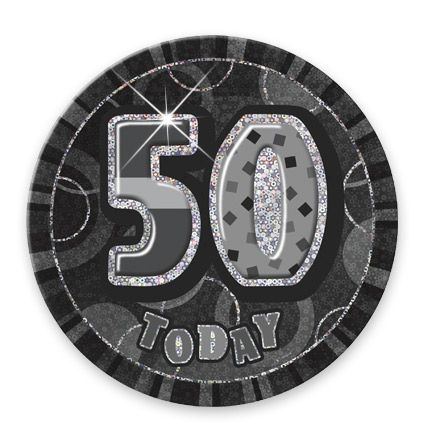 "BLACK/SILVER ""50"" TODAY PRISM AGE BIRTHDAY BADGES"