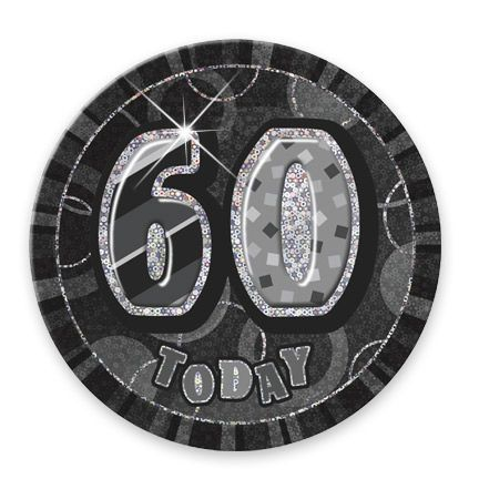 "BLACK/SILVER ""60"" TODAY PRISM AGE BIRTHDAY BADGES"
