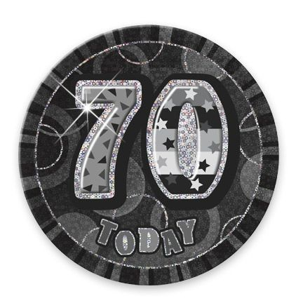 "BLACK/SILVER ""70"" TODAY PRISM AGE BIRTHDAY BADGES"