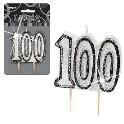 "BLACK/SILVER  NUMERAL ""100"" GLITTER NUMERAL AGE BIRTHDAY CANDLES"