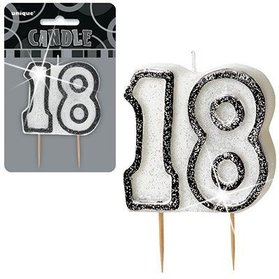 "BLACK/SILVER  NUMERAL ""18"" GLITTER NUMERAL AGE BIRTHDAY CANDLES"