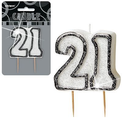"BLACK/SILVER  NUMERAL ""21"" GLITTER NUMERAL AGE BIRTHDAY CANDLES"