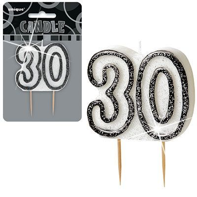 "BLACK/SILVER  NUMERAL ""30"" GLITTER NUMERAL AGE BIRTHDAY CANDLES"