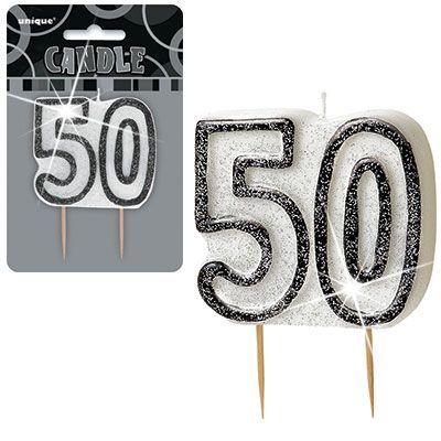 "BLACK/SILVER NUMERAL ""50"" GLITTER NUMERAL AGE BIRTHDAY CANDLES"