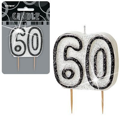 "BLACK/SILVER  NUMERAL ""60"" GLITTER NUMERAL AGE BIRTHDAY CANDLES"