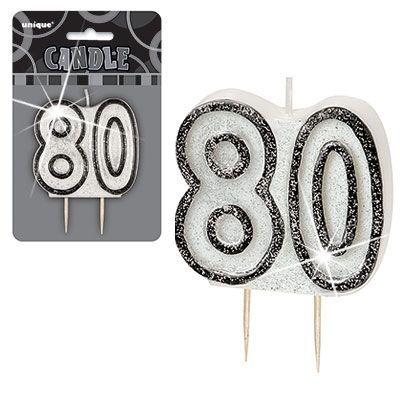 "BLACK/SILVER  NUMERAL ""80"" GLITTER NUMERAL AGE BIRTHDAY CANDLES"