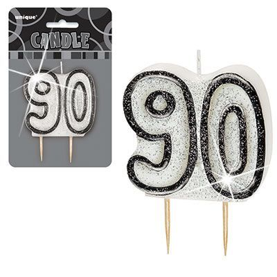 BLACK SILVER NUMERAL 90 GLITTER AGE BIRTHDAY CANDLES