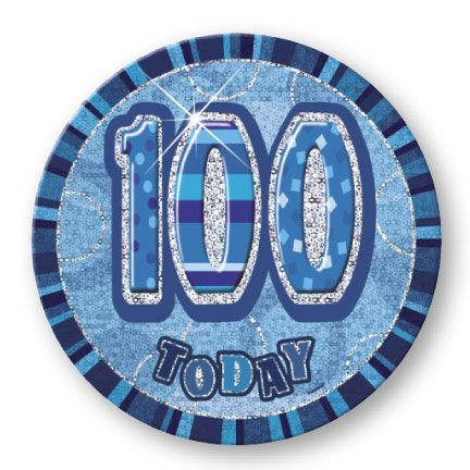 "BLUE ""100"" TODAY PRISM AGE BIRTHDAY BADGES"
