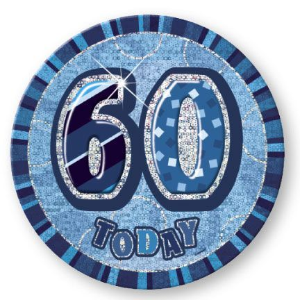 "BLUE ""60"" TODAY PRISM AGE BIRTHDAY BADGES"