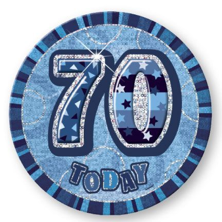 "BLUE ""70"" TODAY PRISM AGE BIRTHDAY BADGES"