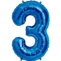 "BLUE NUMBER 3 SHAPE 16"" PKT"
