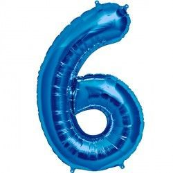 "BLUE NUMBER 6 SHAPE 16"" PKT"