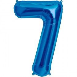 "BLUE NUMBER 7 SHAPE 16"" PKT"