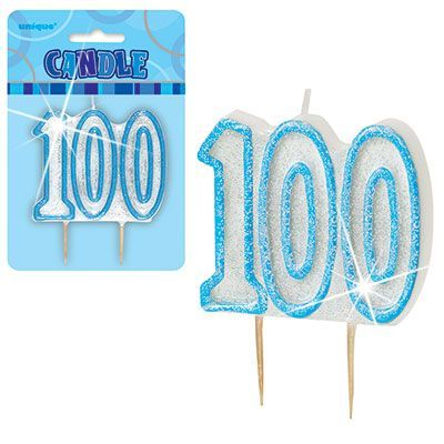 "BLUE NUMERAL ""100"" GLITTER NUMERAL AGE BIRTHDAY CANDLES"