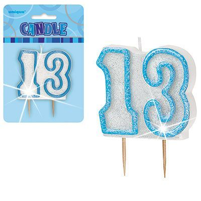 "BLUE NUMERAL ""13"" GLITTER NUMERAL AGE BIRTHDAY CANDLES"