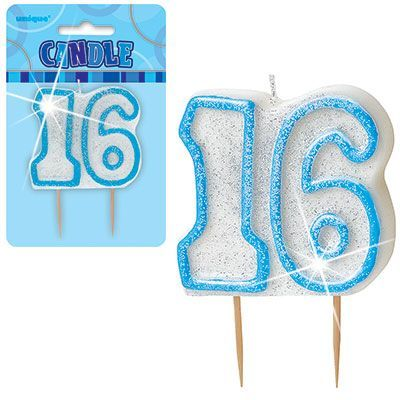 "BLUE NUMERAL ""16"" GLITTER NUMERAL AGE BIRTHDAY CANDLES"